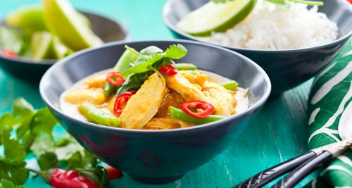 Thai Panang curry with chicken and Coriander
