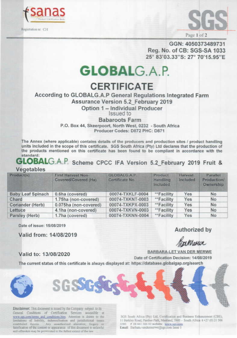 GlobalGAP Certification August 2019