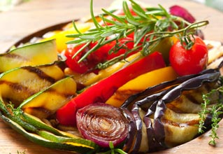 Rosemary with grilled vegetables